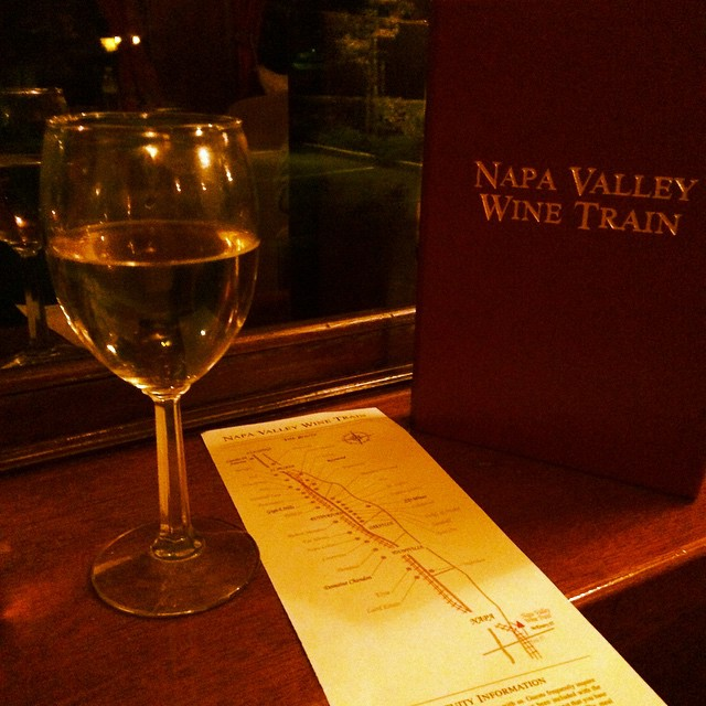Enjoying a lovely dinner and some wine aboard the Napa Valley @winetrain! #anniversary
