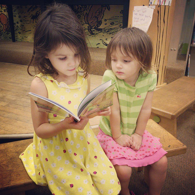 Reading The Tale of Peter Rabbit at Barnes and Noble after a long day of playing at the park! #homeschool