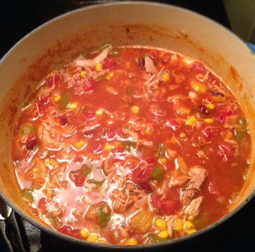 spicy chicken soup in the pot