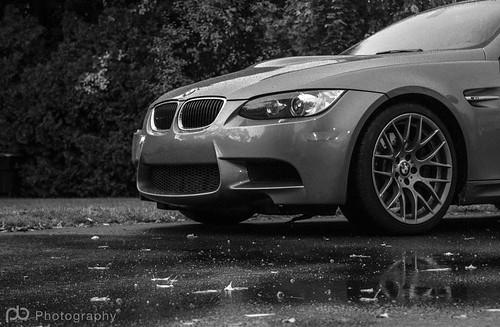 BMW in the rain