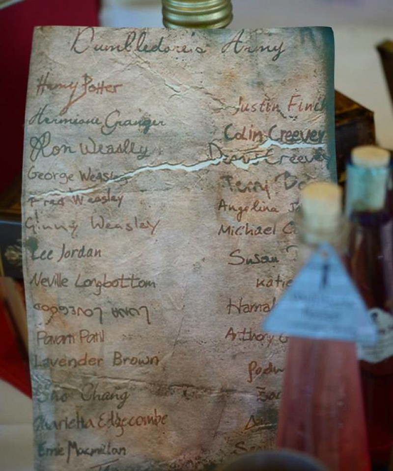 Dumbledore's Army list at this Scottish Harry Potter wedding on @offbeatbride