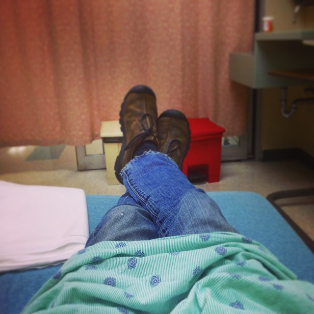 Saturday night at the ER. At least there's cable and I can keep my pants on!