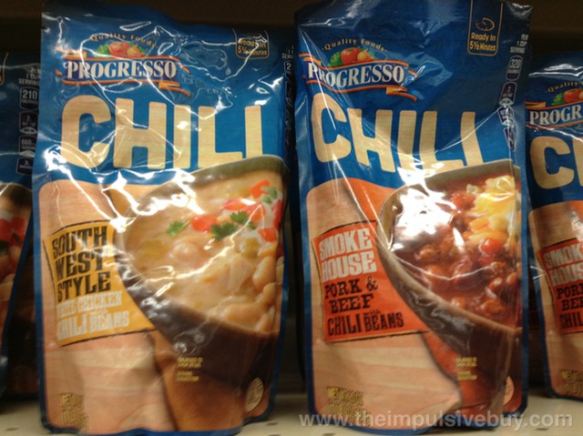Progresso Chili (Southwest Style White Chicken Chili and Smokehouse Pork & Beef Chili)