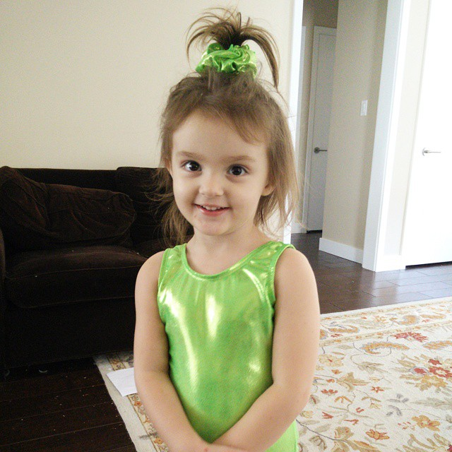 The little girls are sooo excited about starting #gymnastics classes. It's all they've been able to talk about for weeks!  Little sister wanted a green leotard so she could look like Ariel. :-) #lifewithatwoyearold