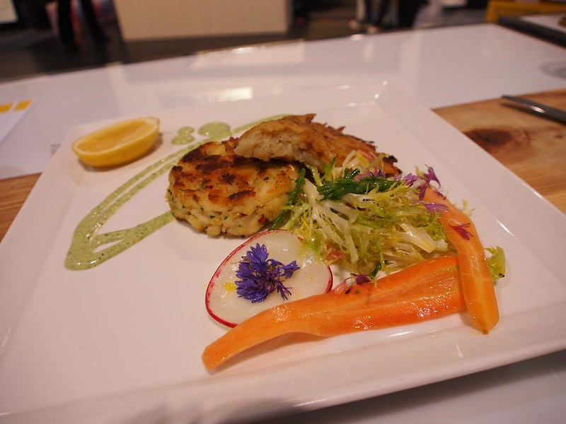 George Brown team cooked Herbed Ling Cod Cakes with Crisp Potato Rosti & Caper Remoulade