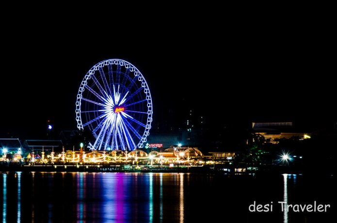 A Ferris Wheel on banks of Chao Phraya in Bangkok