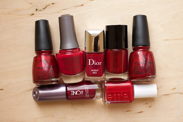 Dior #853 Massai comparison China Glaze   Just Be Claws, Morgan Taylor   Man Of The Moment, Catrice #17 Caught On The Red Carpet, China Glaze   Ruby Pumps, Oriflame   The One Ruby Rouge, Essie Forever Young