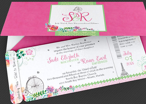 French Wedding Boarding Pass Invitation Template
