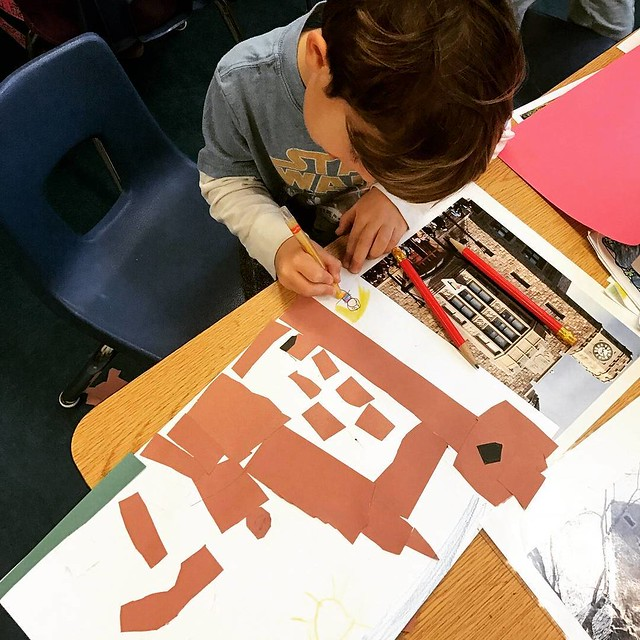 "#Kindergarten student works from a photo to re-create the #facade of a building from his #Pelham comminity. Learning about shapes & proportion in #architecture as well as architectural elements. ""All Around My Community"" residency with K & 1st grade class"