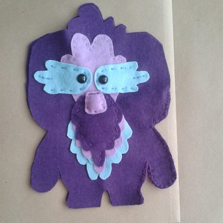 Beardy felt creature which I made in @feltmistress workshop at #licaf Hope to finish making it later in the week.
