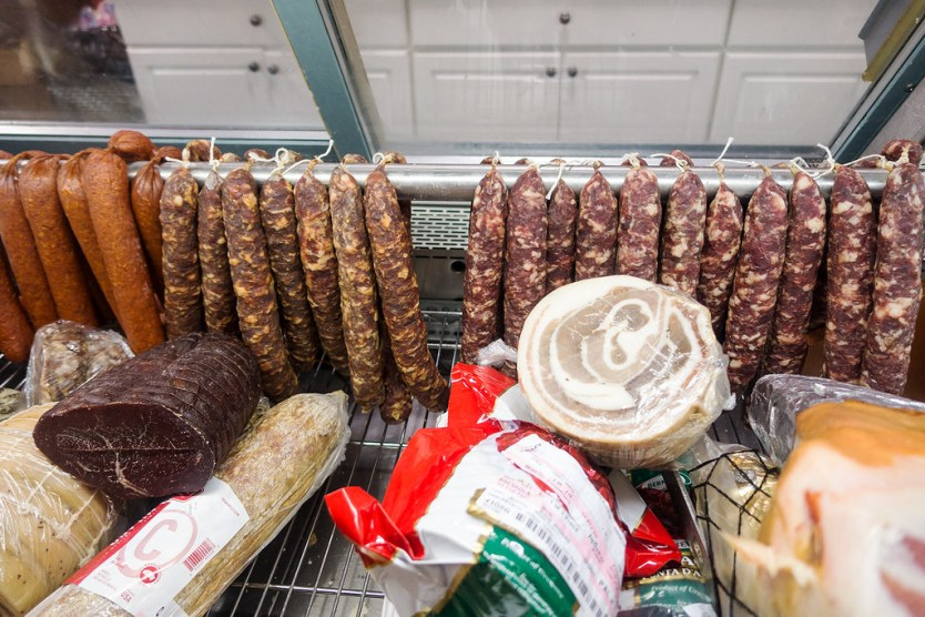 One of the meat cases at Rossi Rosticceria Deli in Poughkeepsie, NY.