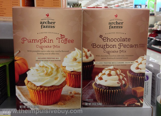 Archer Farms Limited Edition Pumpkin Toffee Cupcake Mix Chocolate Bourbon Pecan Cupcake Mix