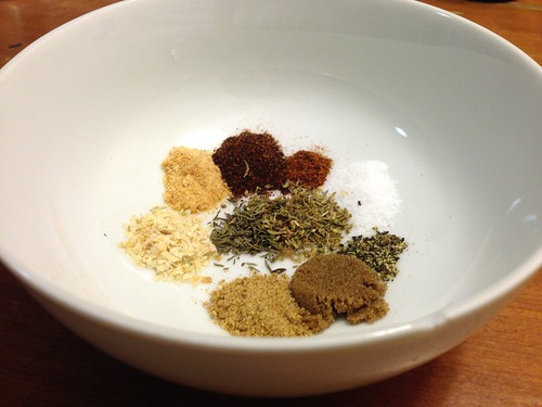spices in a bowl for pork tenderloin