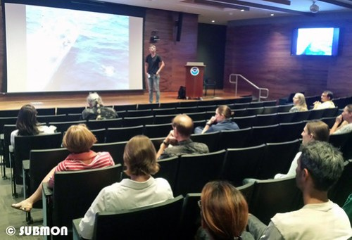 Giving a talk on work with longline fishermen at NOAA IRC, Pearl Harbour, O'ahu