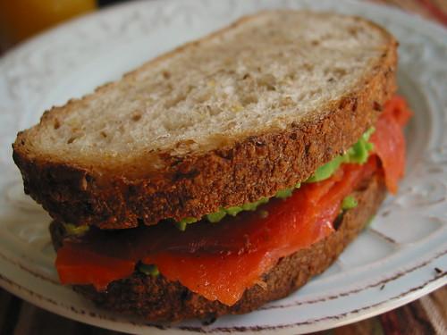 Smoked salmon avocado Pain de Mie sandwich