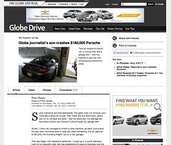 $180,000 Porsche Crash by Globe journalist's son: Best ad in 2010