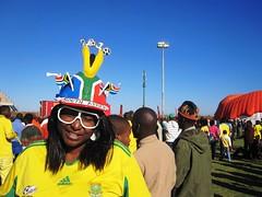 South African fan wearing a makarapa helmet