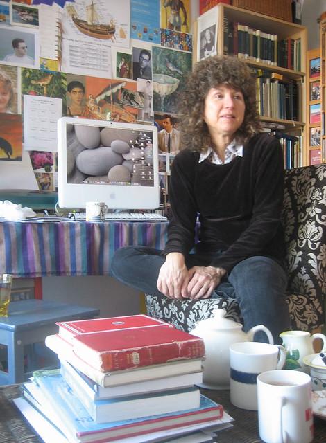 Caroline Lawrence in her study