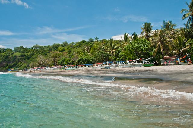 The white sand beach near Candidasa
