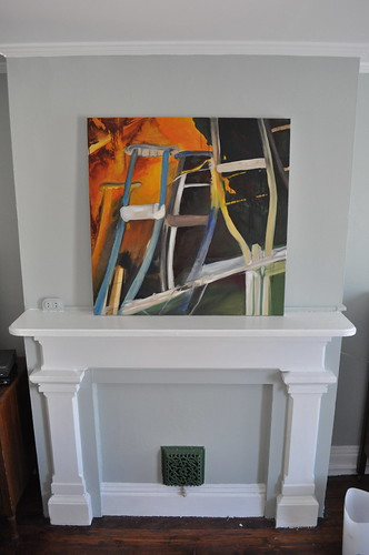 leaning painting