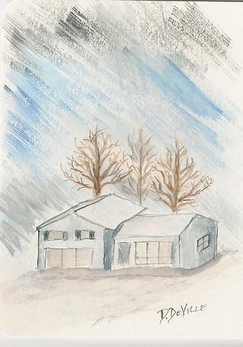 blue-house-snowy-night