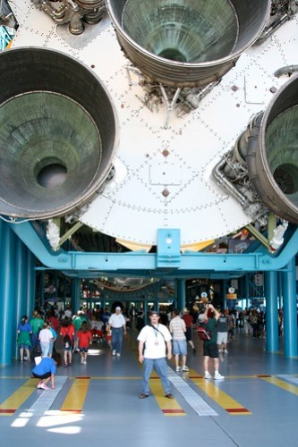 Here I stand under a Saturn V Rocket