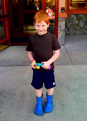 Jacob loves the Crocs boots we gave him for his birthday
