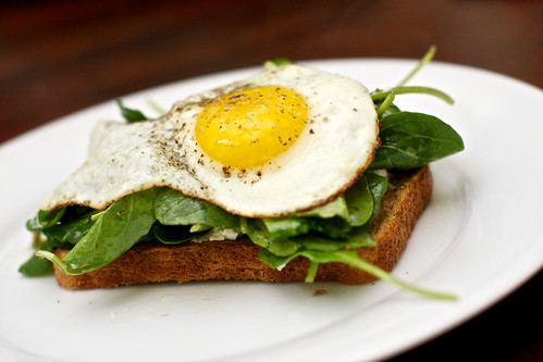 Open-Faced Sandwiches with Ricotta, Arugula and Fried Egg