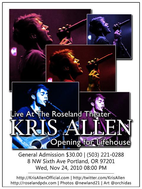 Kris Allen Promo Art – Ogden Theatre, Denver, CO