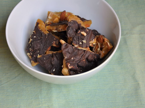 Chocolate, Almond and Hazelnut Toffee