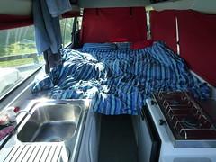 Unser Campervan mit Bett