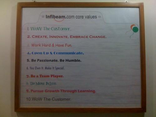 InfiBeam Core Values (list)