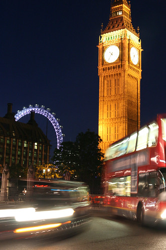 Big Ben, London Eye at night