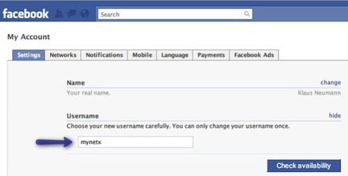 Facebook: Change your username, once