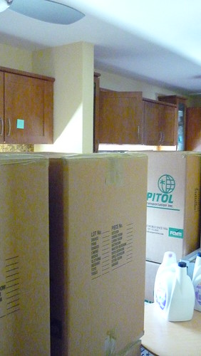 Kitchen full of boxes
