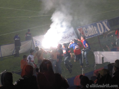 Flares and Fireworks at Footy Match
