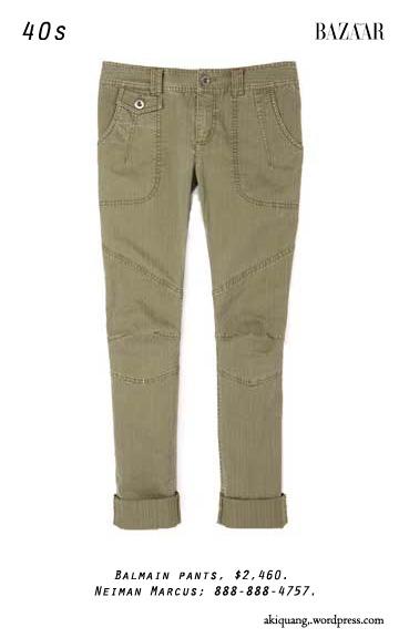 Balmain pants, $2,460. Neiman Marcus; 888-888-4757.
