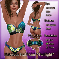Hibiscus Half-kini (Twilight) Navy