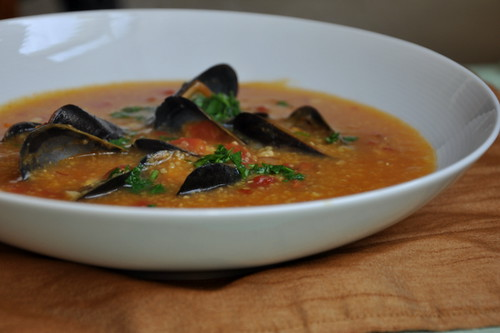 Mussels in Chorizo Polenta Broth