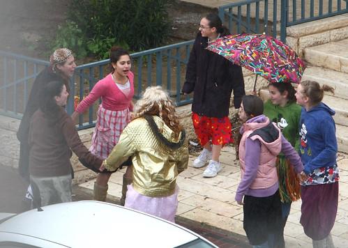 Purim dance in the rain