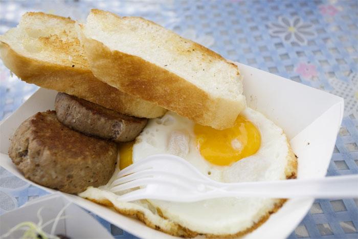 Fried eggs w/ chorizo