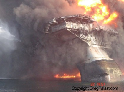 The deepwater horizon taken soon after the explosion in the Gulf.