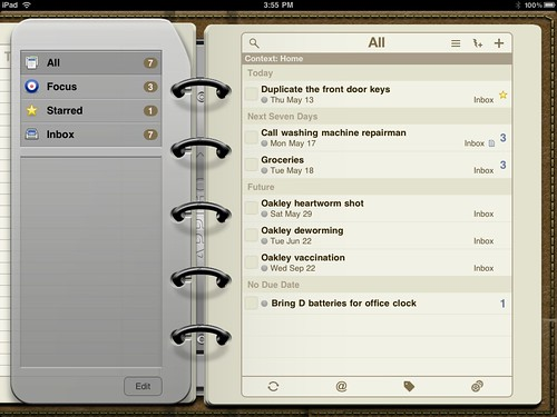 Todo from Appigo on the iPad. Gorgeous!