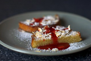 almond cake with cranberry syrup