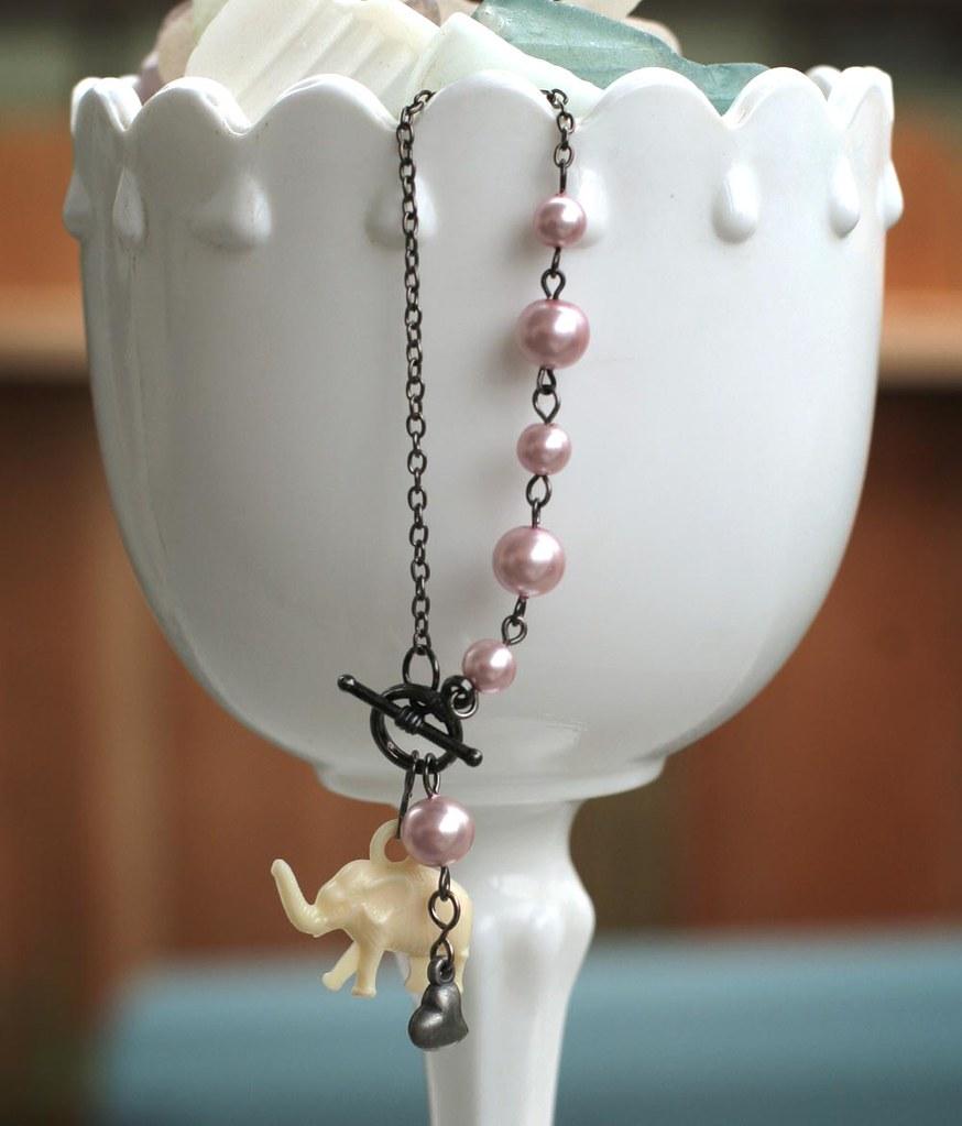 Little pink elephant charm bracelet