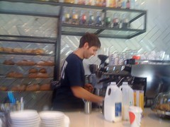 barista at luxe bakery, newtown