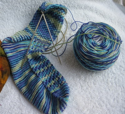 March Mosaic Socks, in progress
