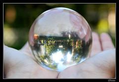 Bola de cristal en las manos, recogiendo imágenes del mundo que le rodea.