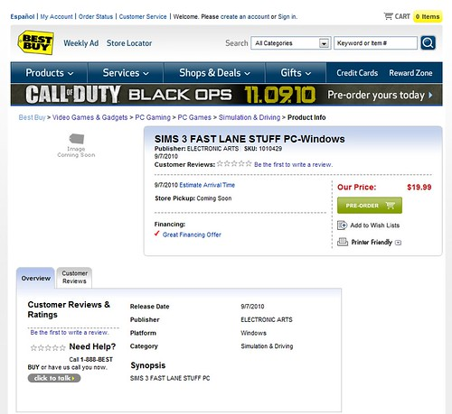 The Sims 3 Fast Lane Stuff listed at Best Buy