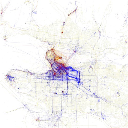 Locals and Tourists in Vancouver. Blue pictures are by locals. Red pictures are by tourists. Yellow pictures might be by either.